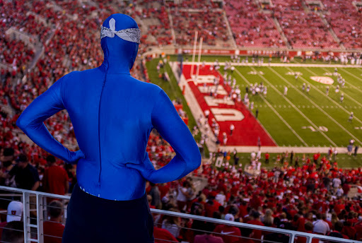 BYU fan at Rice-Eccles Stadium, BYU vs. Utah football, 2012