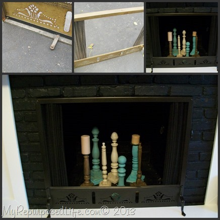 My Repurposed Life-Spray paint brass fireplace screen