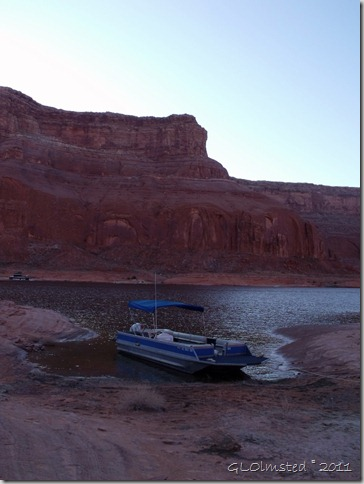 The boat at camp Dungeon Canyon Lake Powell Utah