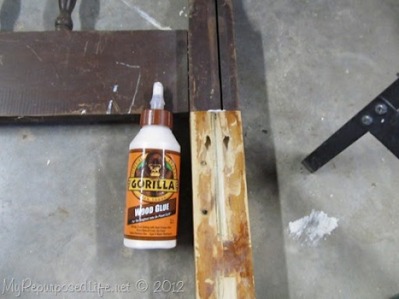 gorilla wood glue along with pocket holes extends bed post