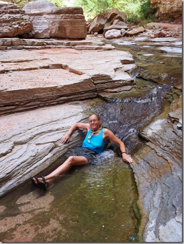Gaelyn soaking at Matkatamiba Colorado River trip Grand Canyon National Park Arizona