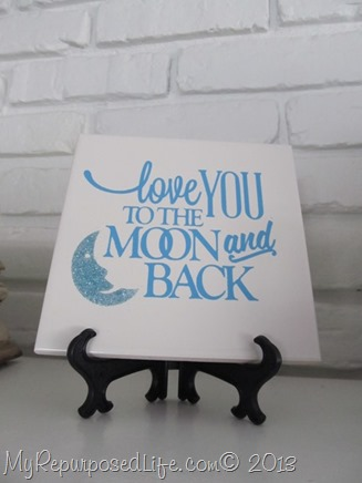 decorative tile love you to the moon