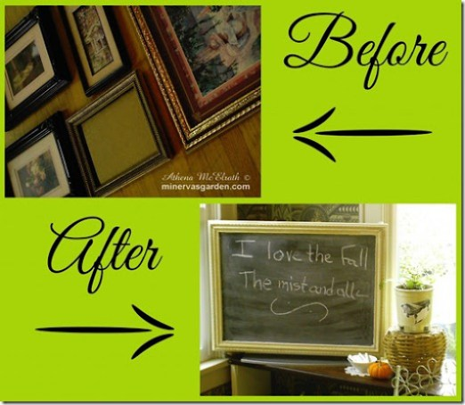 chalkboard frame to hide your tv