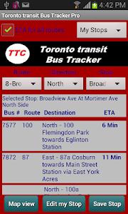 TTC Toronto Bus Tracker  Pro screenshot 0