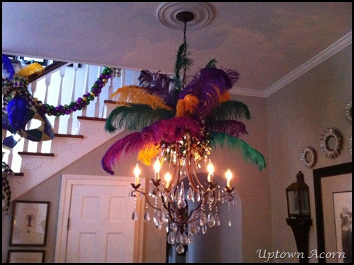 I Also Add A Bit Of Spirit To The Crown Chandelier In Parlor Shiny Metallic Garland Adds Sparkle Regal
