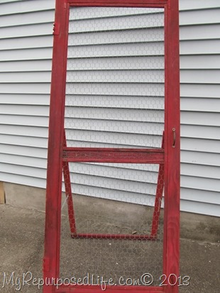 vintage screen door to use as a craft show display