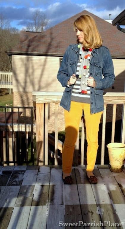 mustard corduroys denim, stripes and leopard