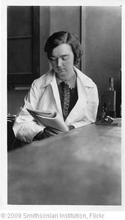 'Mary Van Rensselaer Buell (1893-1969), sitting in lab with microscope, reading paper' photo (c) 2009, Smithsonian Institution - license: http://www.flickr.com/commons/usage/