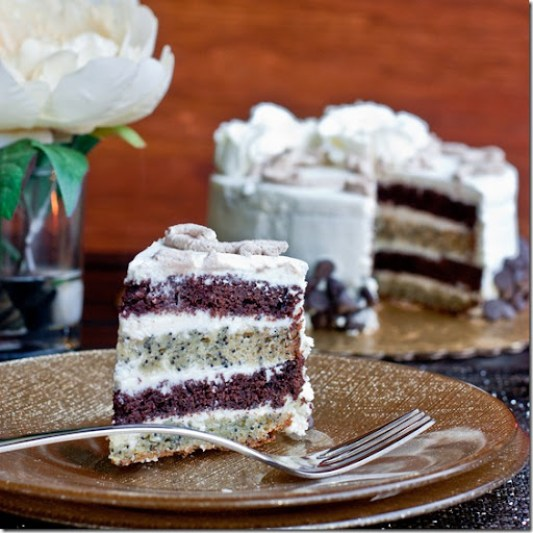Chocolate, Poppy Seed & Walnut Cake with Condensed Milk Frosting | By Let the Baking Begin!
