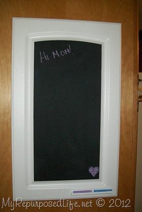 chalkboard from a cabinet door