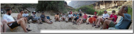 Some of the crew at 120 Mile camp Colorado River trip Grand Canyon National Park Arizona