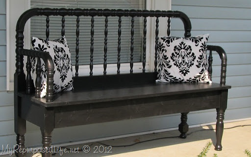 black repurposed headboard bench