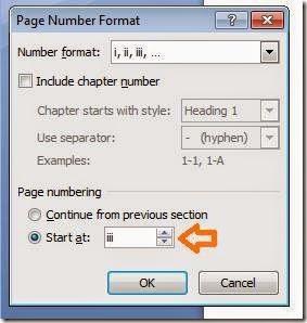 nomer awal page number di masukkan