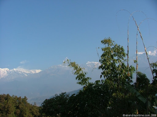 A beautiful picture of the Fishtail range (himalayas) from Pokhara in Nepal