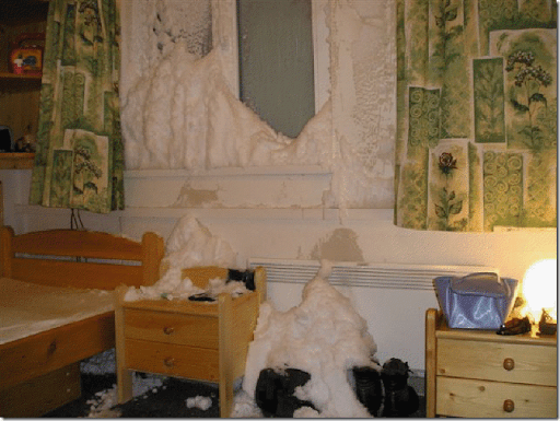 snow in house