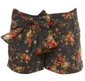 Denim Floral Print Bow Shorts by Miss Selfridge