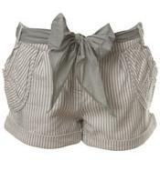 Mint Ticking Bow Stripe Shorts by Miss Selfridge