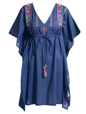Blue Mexicana Embroidered Square Kaftan by Accessorize