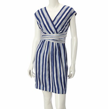 Silk Cross Over Blue and White Stripe Dress by NW3 Hobbs