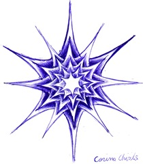 O mare stea sau o floare sau un fulg de nea desen in pix