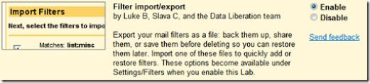 Filter import-export