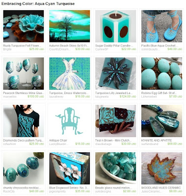 Etsy Treasury: Aqua Cyan Turquoise