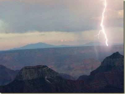 Stormy sky on SR with lightning 7_15pm from North Rim Grand Canyon National Park Arizona