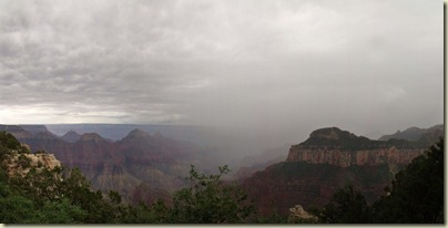 01 Dark clouds & fog above temples, canyon & Widforss Plateau from Lodge NR GRCA NP AZ pano (1024x515)