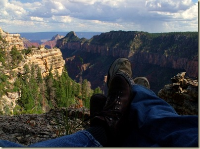 Gaelyn & Mike's feet overlooking Transept canyon from Widforss trail North Rim Grand Canyon National Park Arizona