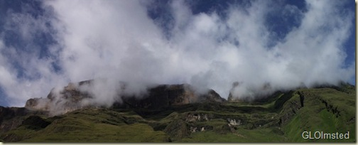 Clouds over the mountain above Keith Bush camp Drakensburg hike KwaZulu-Natal South Africa