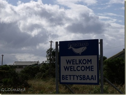 Welcome BettysBaai sign R44 W Western Cape South Africa