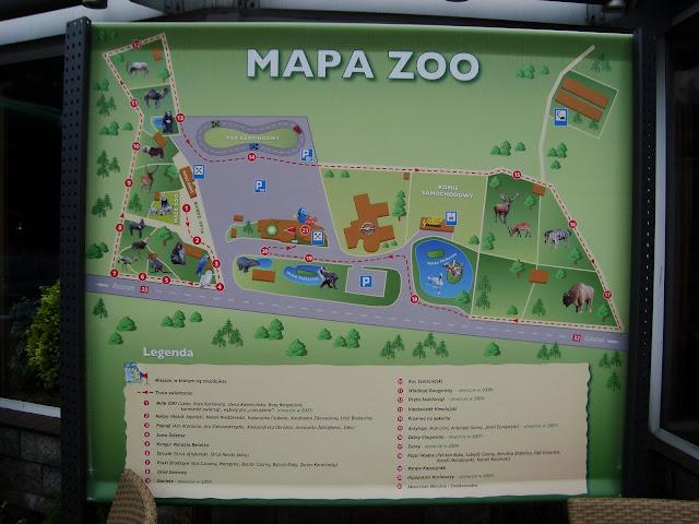 Plansza z mapą zoo stoi tuż obok stacji benzynowej