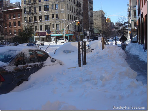 Partially cleared sidewalks.