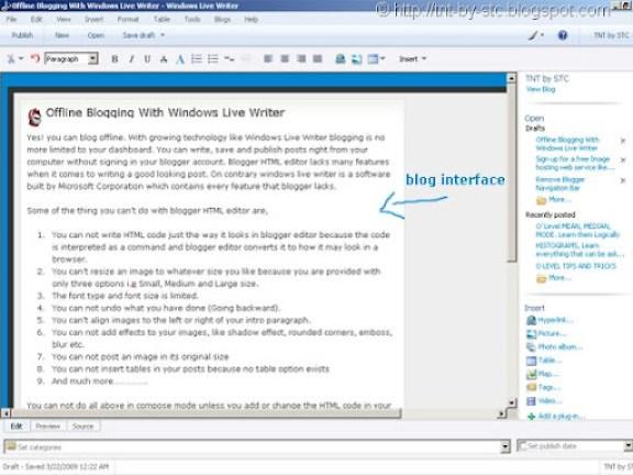 windows live writer interface