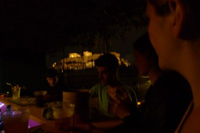 Our roof top bar on the first night. Acropolis in the back ground. Far left dude was from New Jersey. 19 or something and in to theretical physics. The guy in the green shirt is from Melbourne and in the amry reserve. Other babe is my wife.
