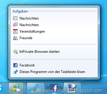IE9 Facebook Jumplist