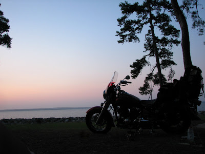 Motorcycle Sunrise from the tent