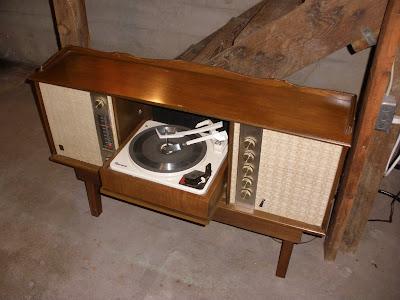 Fold down phonograph.