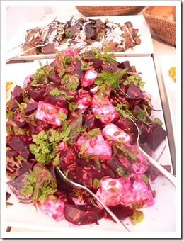 Roasted beetroot salad with feta and chervil