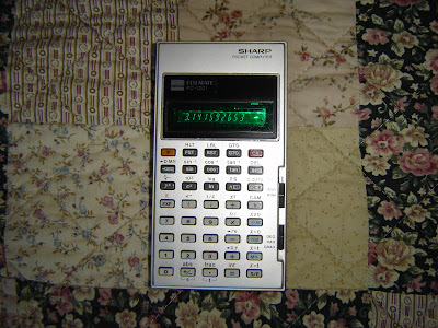 Here it is, my very first programmable calculator, the Sharp PC-1201