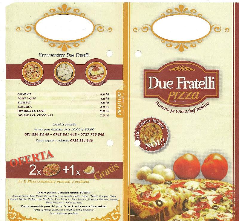 Due Fratelli Pizza Bucuresti  - pliant fata 2009