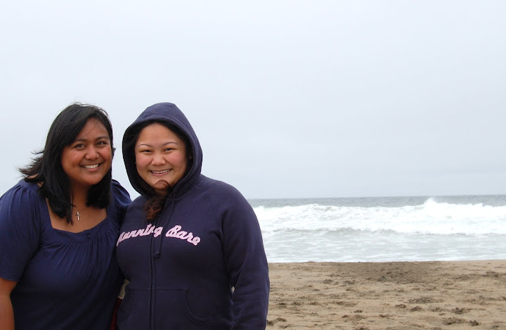 She got the complete NorCal beach experience -- FREEZING cold!