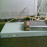 The soekris, the switch (temporary) and Kabouter (the fileserver)..