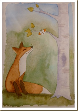 fox & butterfly watercolour