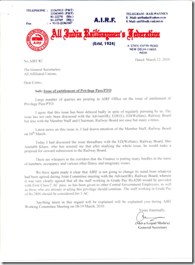 General Secretary/AIRF is vigorously chasing the issue of Entitlement of Privilege Pass/PTO. AIRF has taken a stand that Railway Employee having Grade Pay Rs. 4200 should be given First Class Pass