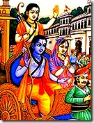 Sita Rama and Lakshmana leaving for the forest