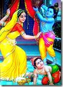 Yashoda with Krishna and Balarama