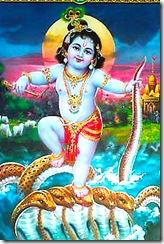Lord Krishna taming Kailya serpent