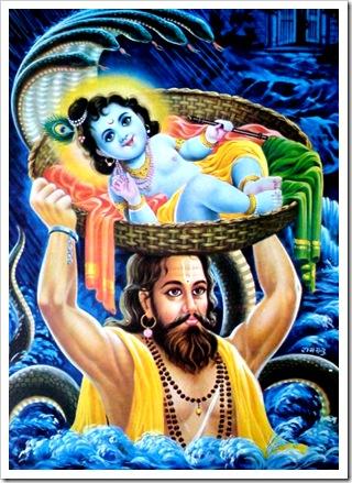 Vasudeva carrying Krishna