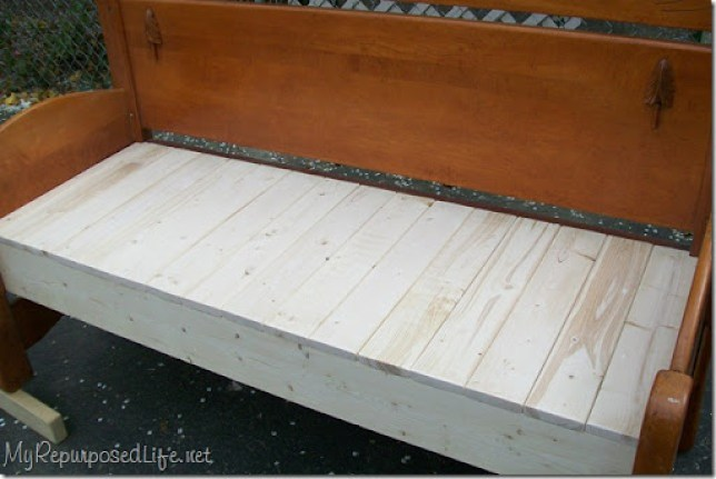 plank seat on headboard bench